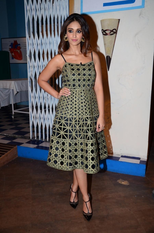Actress Ileana D'Cruz Long Legs Stills In Green Dress