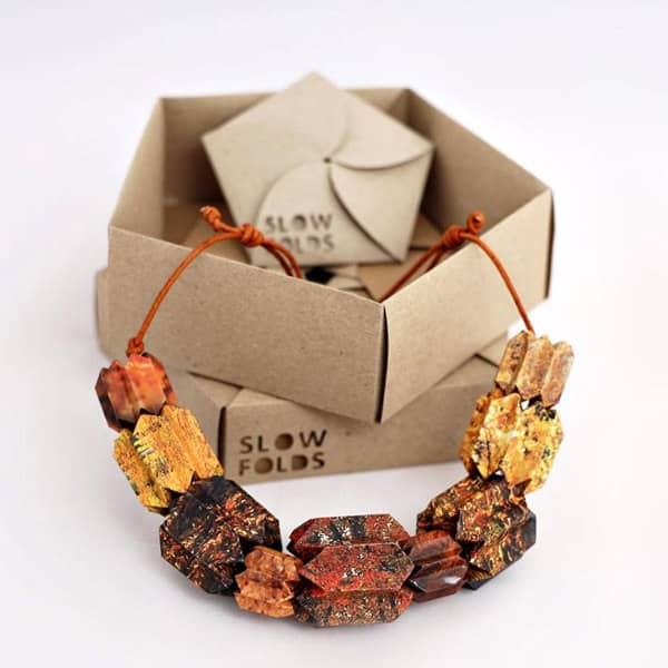 paper bead origami necklace in autumn colors