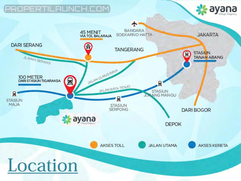 Peta Lokasi Ayana Village Regency Tigaraksa Tangerang