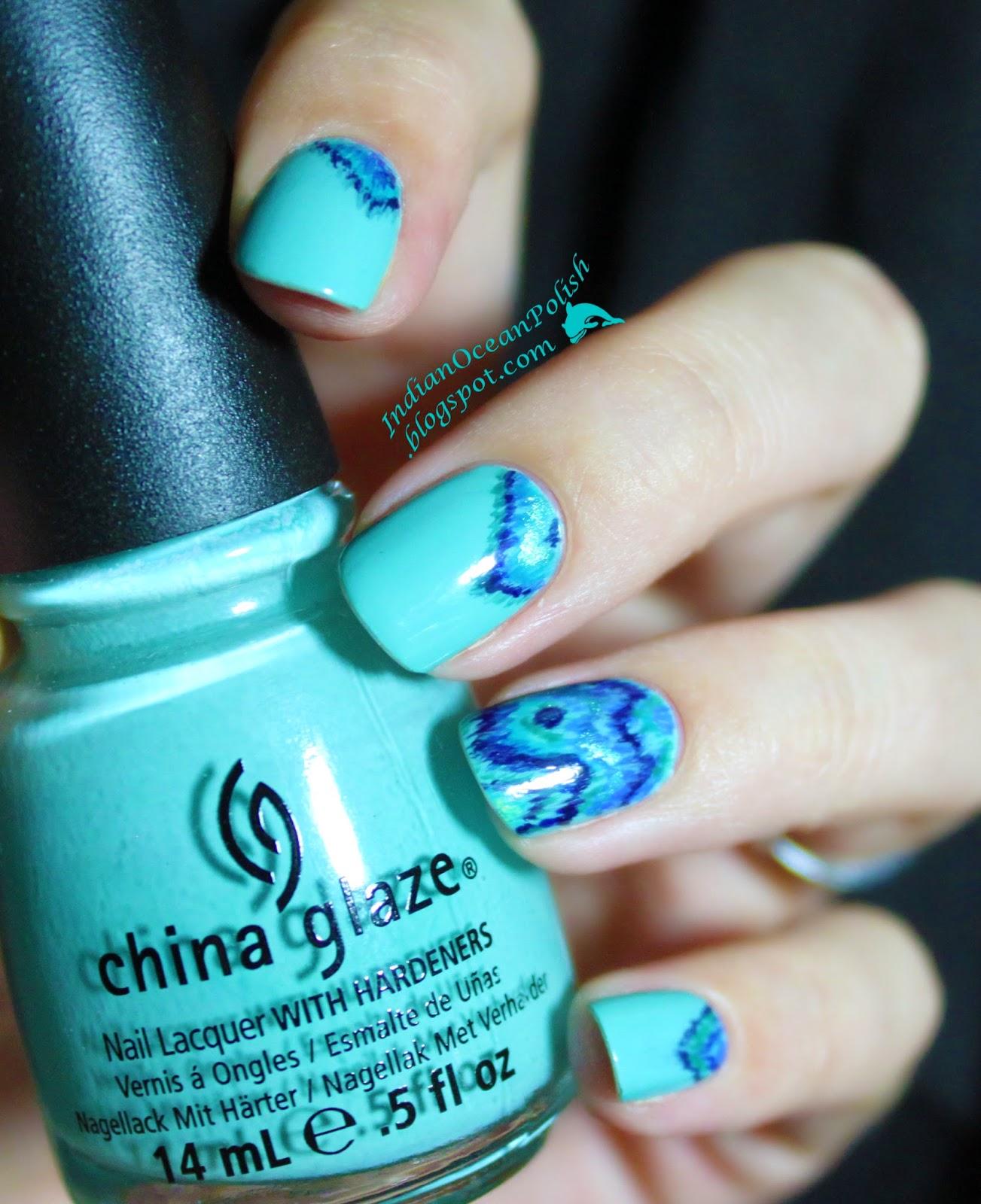 Indian Ocean Polish Colour Blocking Nails With Opi Fly: Indian Ocean Polish: Turquoise And Ocean Coloured Ikat