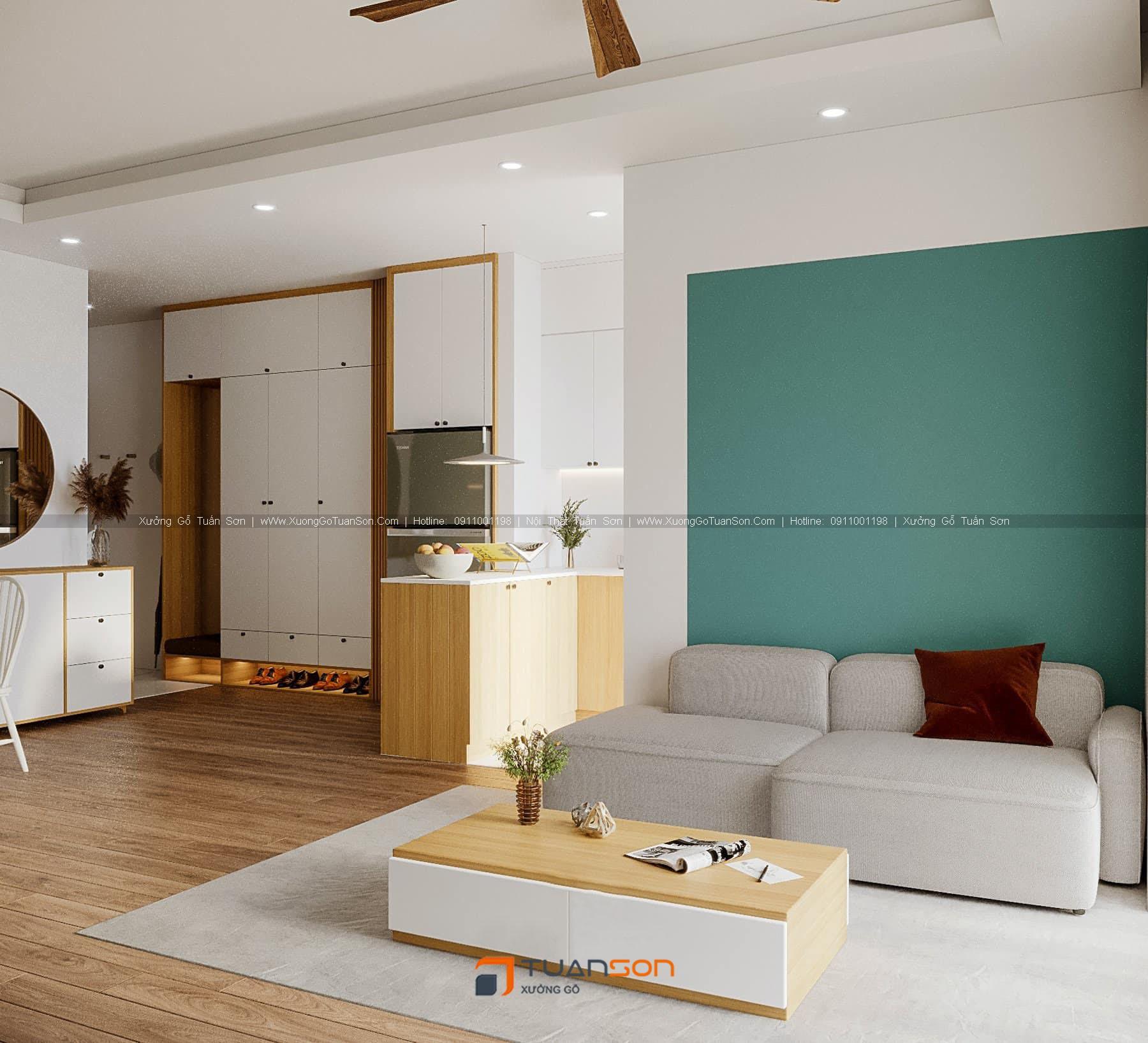 Thiết kế nội thất căn số 2 (85m2) Phương Đông Green Park