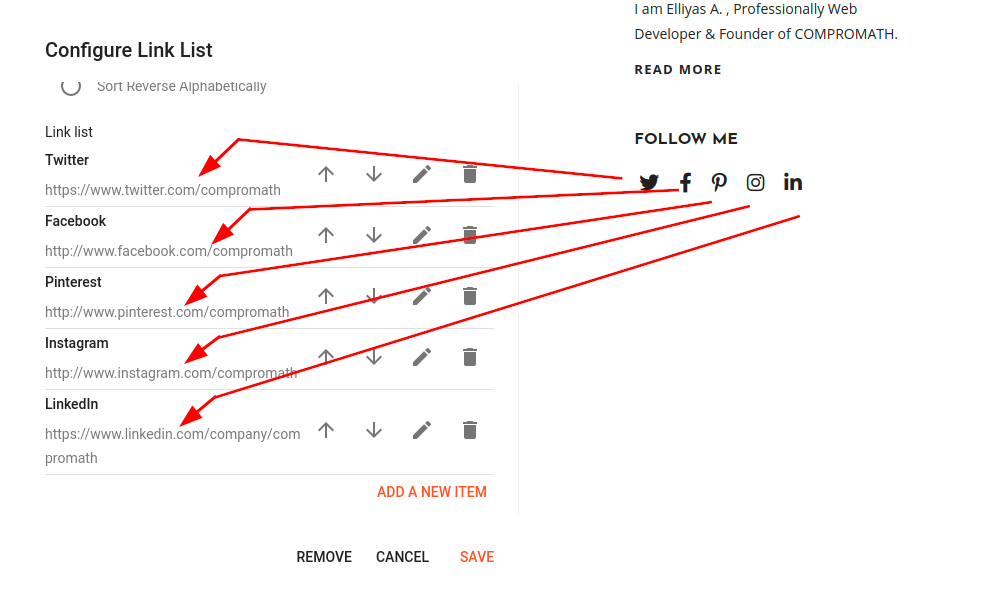 How to update About Social Link Image