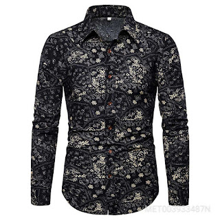 Men Slim Large Fashion Trend Printing Long Sleeves Shirt