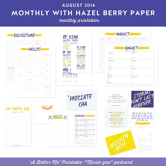 Monthly Printables: August 2014