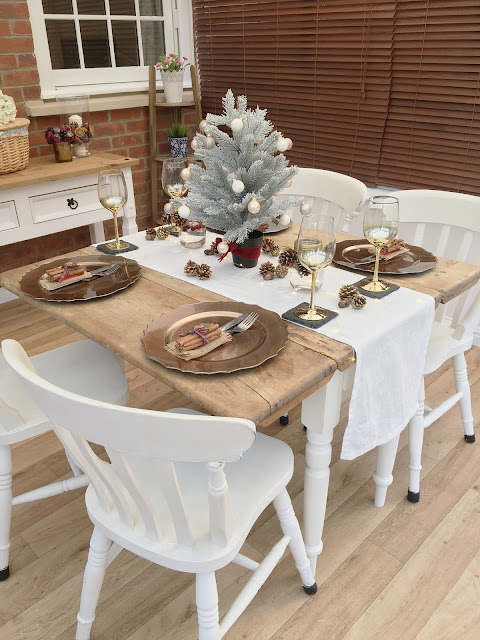 Dining table set for Christmas lunch