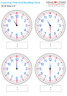 """Mama Love Print 自製工作紙 - 認識時間和閱讀鐘面 Level 2 - 學習分針  """"時"""" 和 """"30分""""  Learning Time and Reading Clock - Learning Minute Hand (Half Past) Time Worksheets for Kindergarten Printable Learning Resources for Homeschooling Parents"""