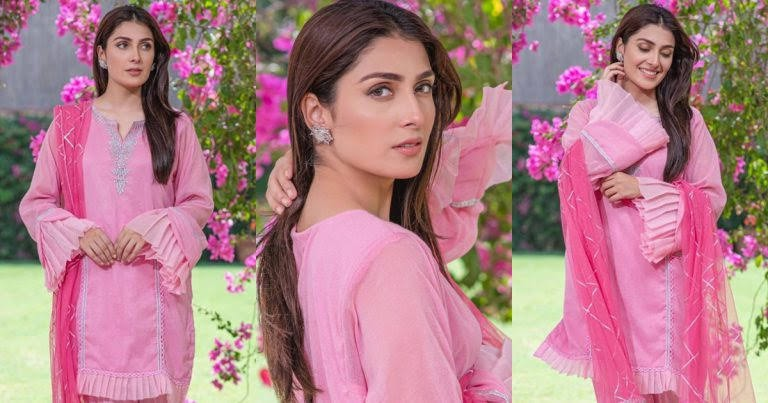 Beauty in Pink   Ayeza Khan Awesome Clicks in Pink Dress