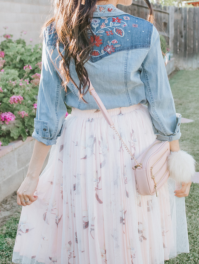 back of embroidered chambray shirt with blush tulle skirt