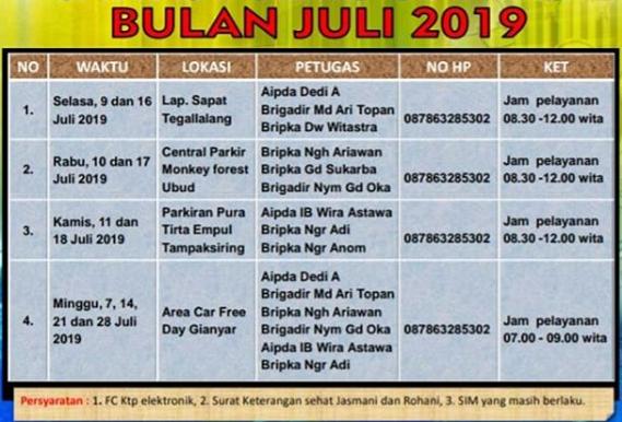 Jadwal Sim Keliling Gianyar Juli 2019 Sim Keliling