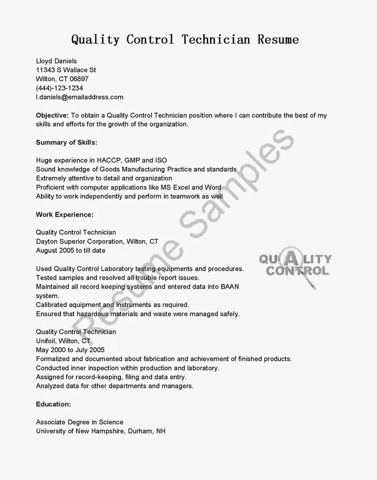 sample resume quality control technician