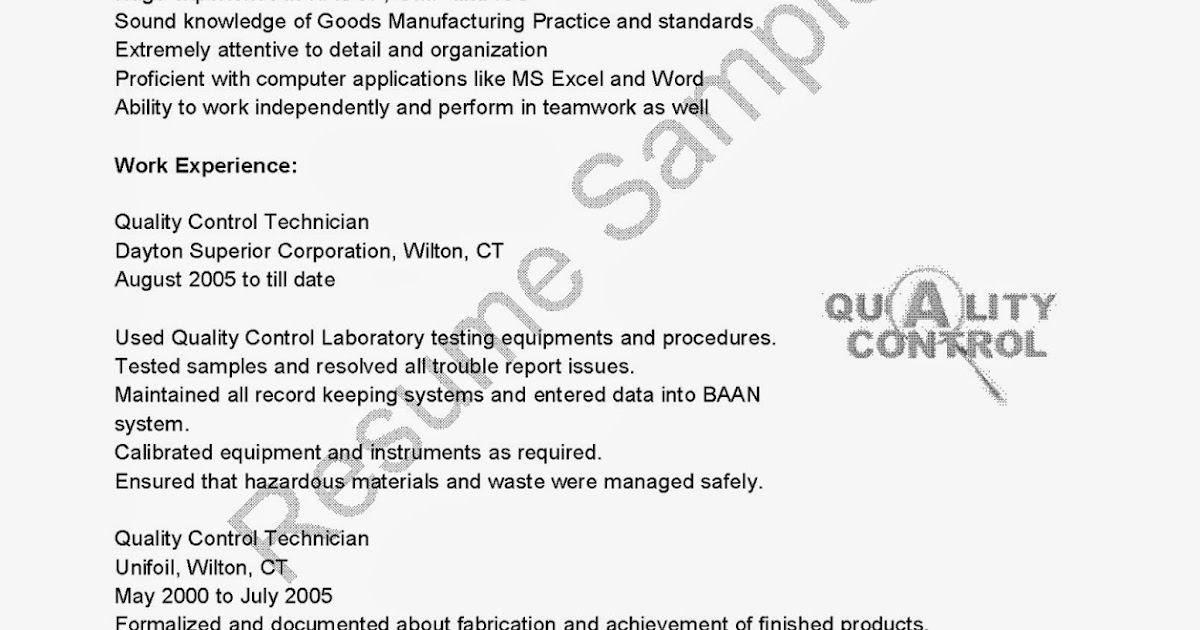 Resume Samples Quality Control Technician Resume Sample