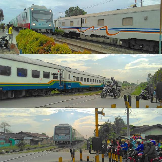 Kereta Bandara Railink Selisihan di Double Track Stasiun Bandar Khalipah Tembung