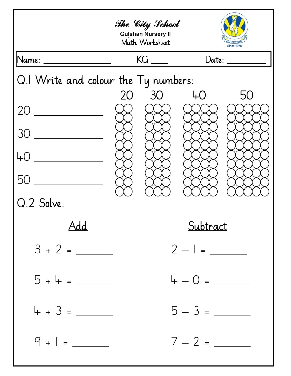 Sr Gulshan The City Nursery Ii Math Kuwa English Worksheets