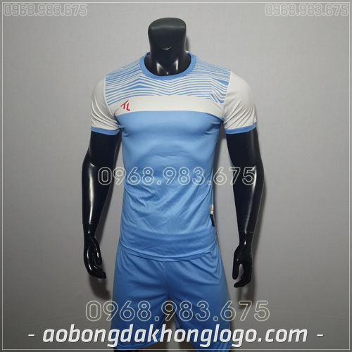 Áo bóng đá không logo TL Riyad màu tím xanh nhạt