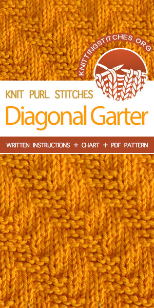 Knitting Stitches -- How to knit the Diagonal Garter stitch pattern. Instructions provided in charted and written form.