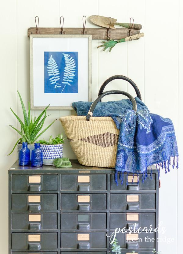 diy fern sun print and vintage hobart cabinet