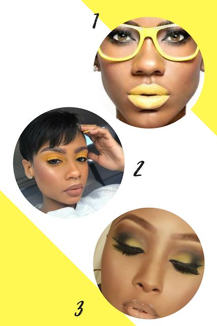 Montagem maquiagem amarela na pele negra: 1-Pinterest/ 2- Pinterest/ 3- Urban Gyal