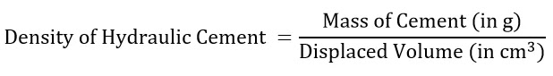 Density Test of Hydraulic Cement to Calculate Specific Gravity