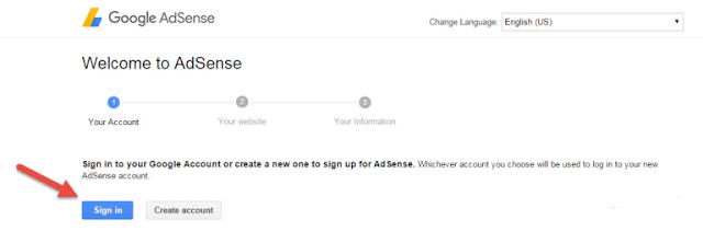 adsense  New Account से बनाना है तो Create Account