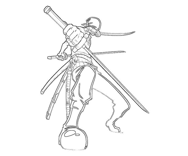 One piece roronoa zoro swordman mario for Zoro coloring pages