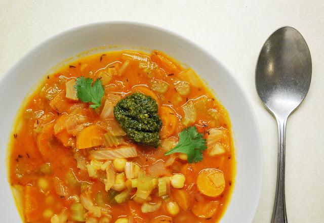 Soupe tomates céleri pois chiches