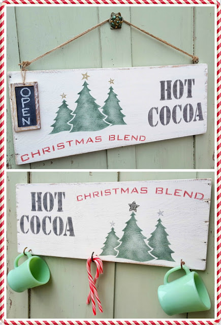 Hot Cocoa stenciled signs