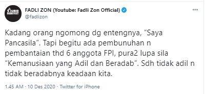 Anggota FPI Ditembak Mati, Fadli Sindir Orang yang Suka Teriak 'Saya Pancasila'