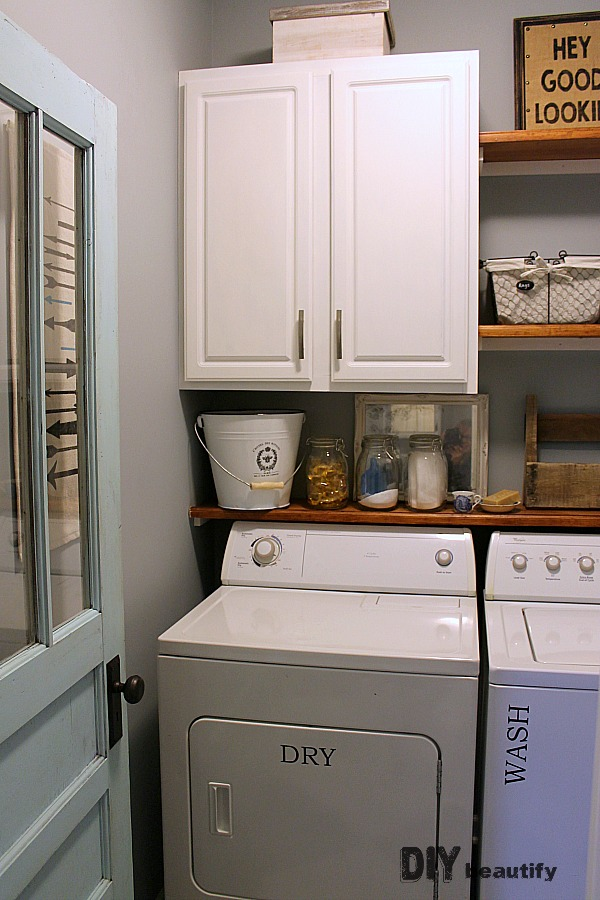 laundry room with farmhouse style