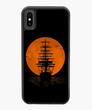 Luna llena, barco, pirata