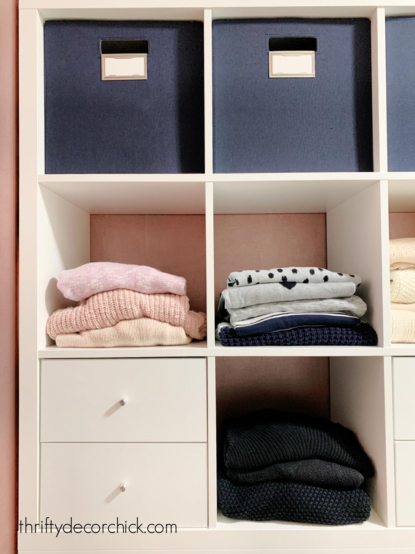 Kallax closet storage hack with drawers
