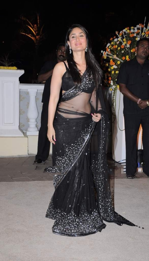 Kareena Kapoor in Black Transparent Saree