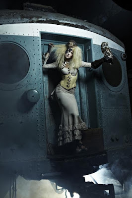 Steampunk fashion uses the victorian era mermaid and fishtail skirt shape with a train.