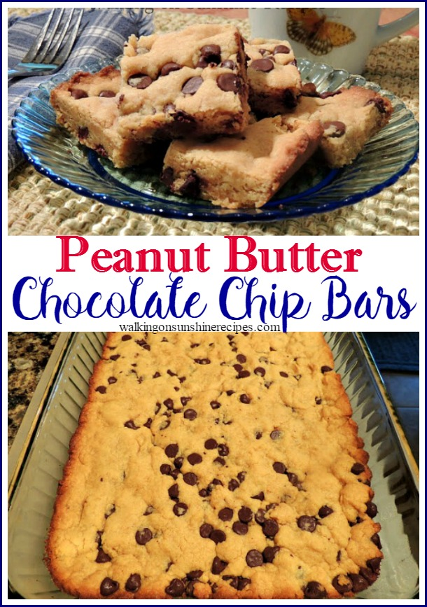 Peanut Butter Chocolate Chip Bars from Walking on Sunshine Recipes