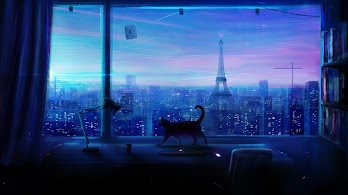 Cat, City, Night, Scenery, Anime, 4K, #134