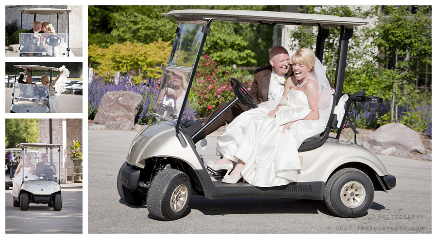 Photos of bride and groom riding golf cart by green bay wedding photographer Casi Lea Photography
