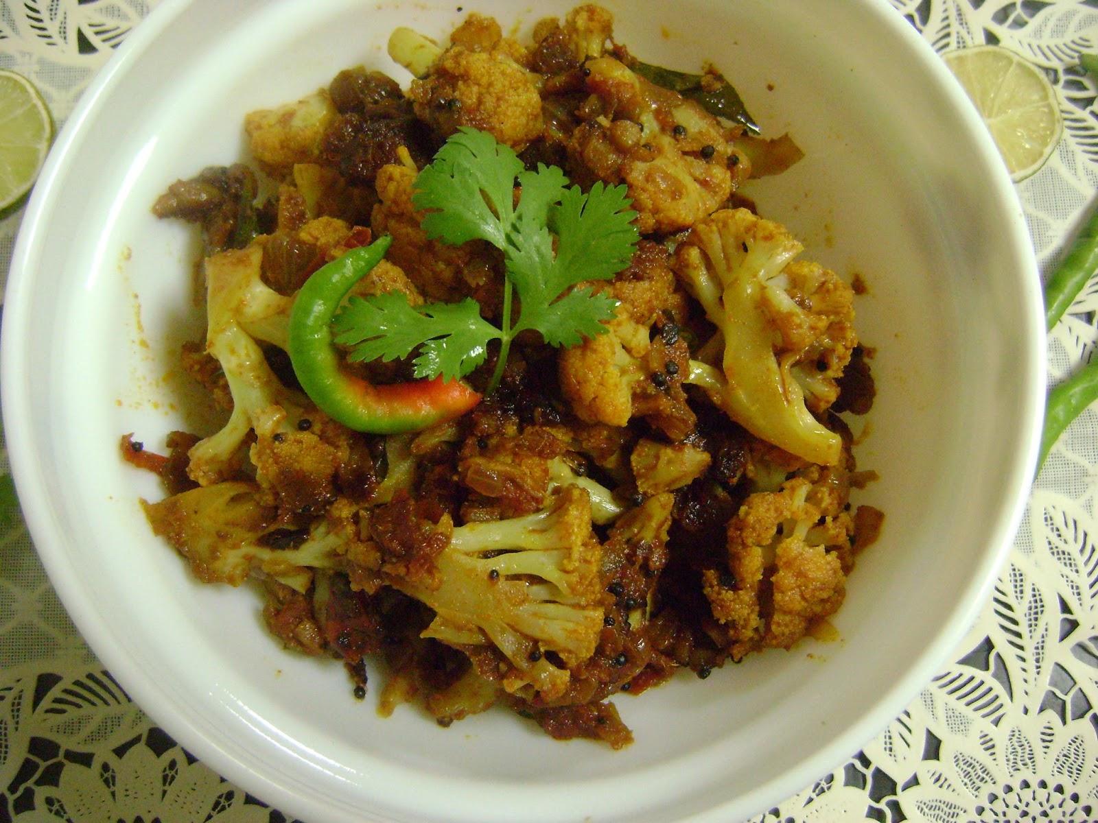 Bethica's Kitchen Flavours: Spicy Cauliflower Stir Fry