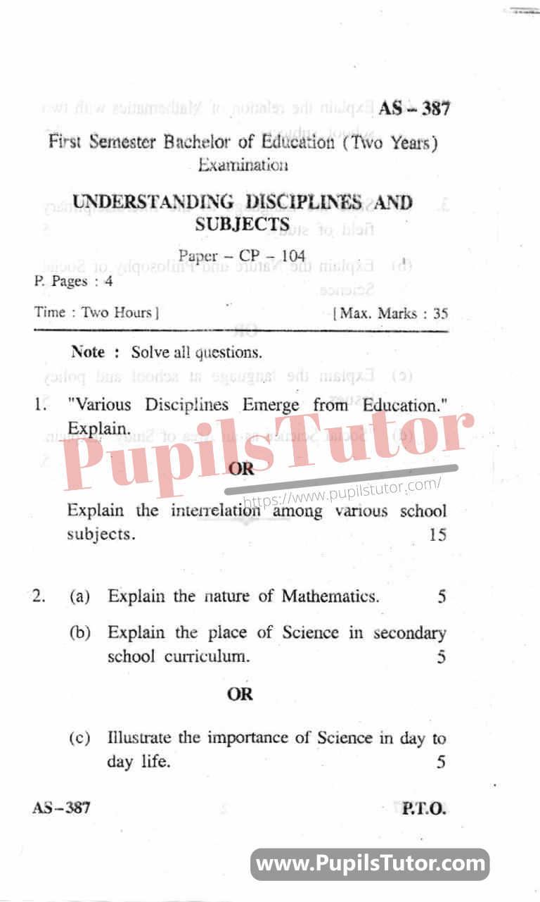 Understanding Disciplines And Subjects Question Paper In English