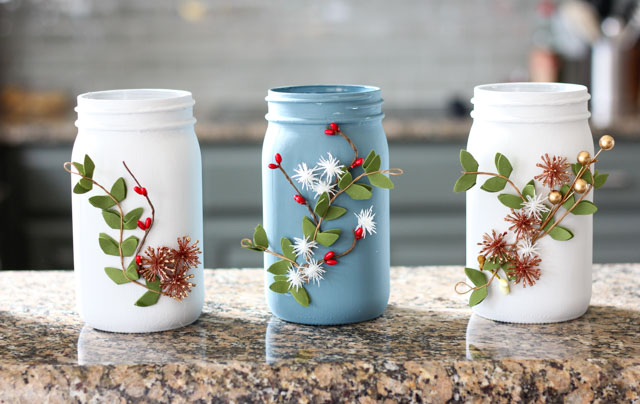 Such a pretty Ball jar craft idea - winter floral vases!