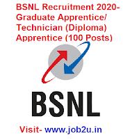 BSNL Recruitment 2020, Graduate Apprentice, Technician (Diploma) Apprentice