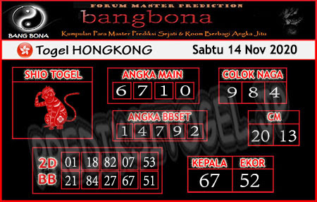 Prediksi Bangbona HK Sabtu 14 November 2020