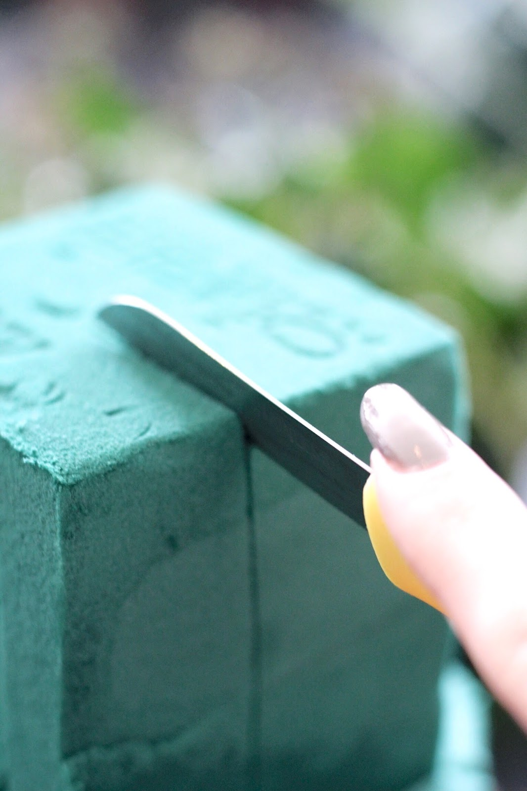 Green floral foam used in floristry