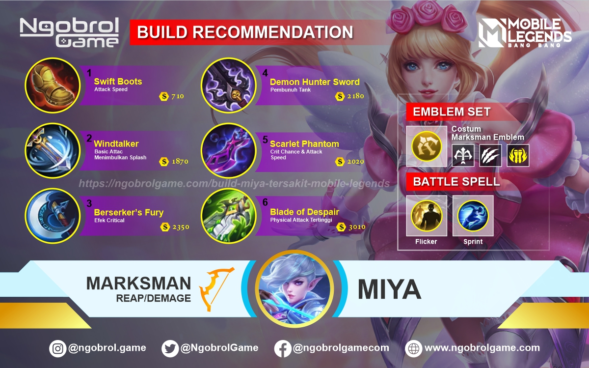 Build Miya Terbaik Mobile Legends