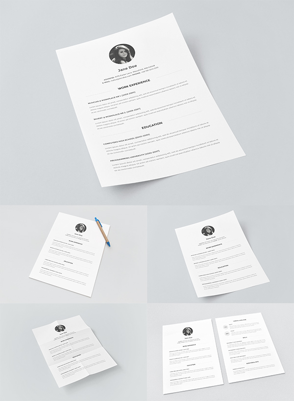 Download Template Mockup Terbaru - Resume Template with Paper Mockups