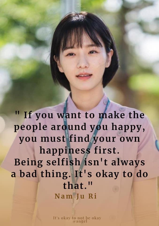 Being Selfish isn't always a bad thing-Nam Ju ri