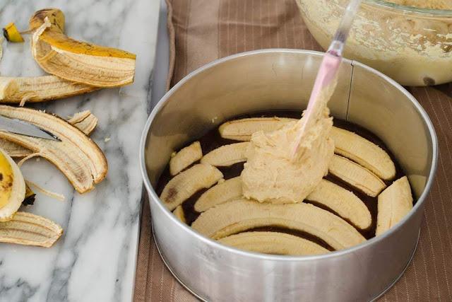 Baking an upside down banana cake photo