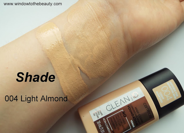 Catrice Clean ID High Cover Luminous Matt Foundation Shade 004 Light Almond swatches