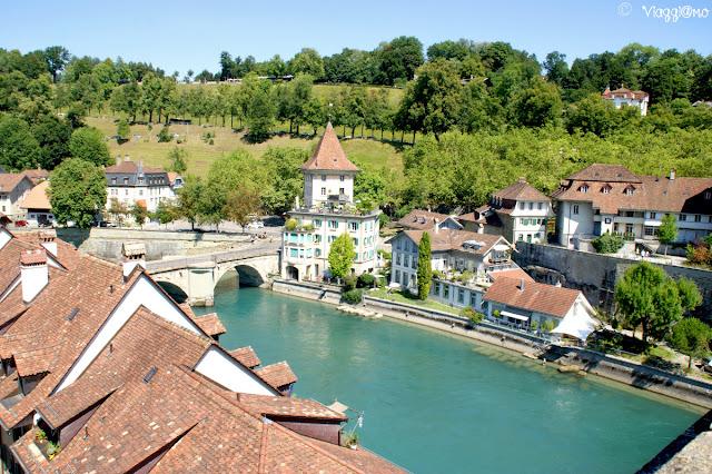 Vista panoramica dal ponte che attraversa il fiume Aare