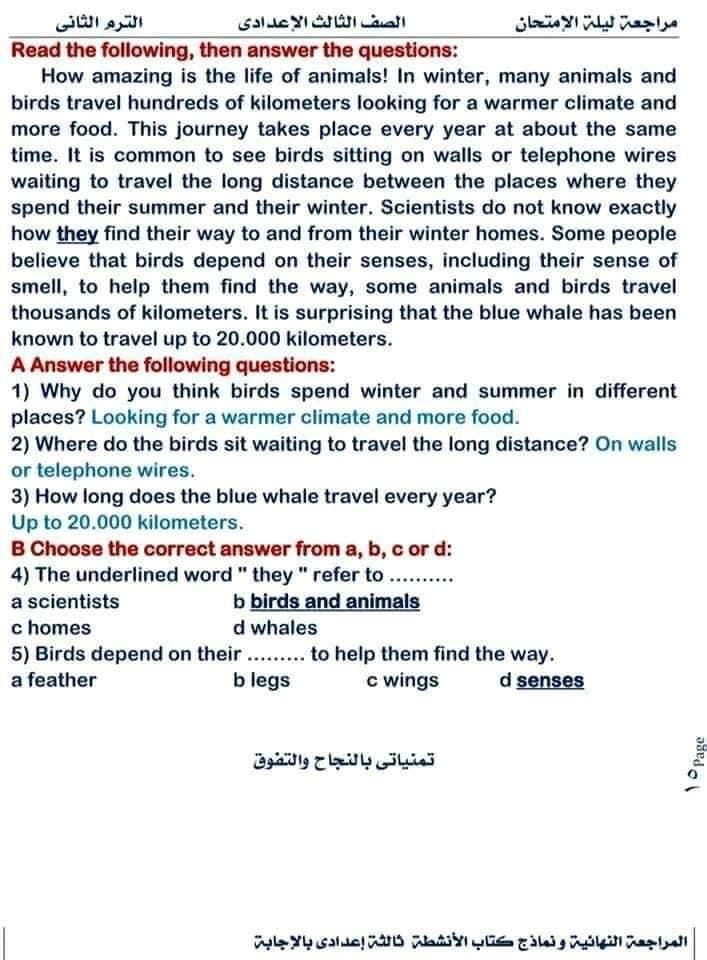 حل اختبارات كتاب work book للصف الثالث الاعدادي ترم ثاني 16