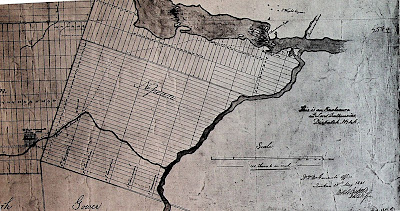 Map of Nepean Township with the Ottawa River across the top and the Rideau River cutting diagonally from upper right to centre middle. Nepean Township forms roughly a square in the southwest corner of where these rivers meet, divided into stripes representing the about 25 Lots (east-west) and nine or so Concessions (north south). Along the Ottawa River, this pattern is rotated 90 degrees, and where the Ottawa and Rideau rivers meet, the area nearest the Rideau River receives the alignment of the Rideau River's lots.