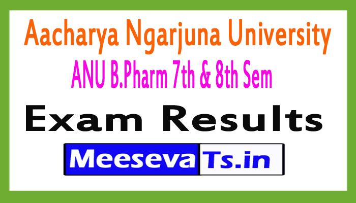 Aacharya Ngarjuna University B.Pharm 7th 8th Sem Regular Supply Exam Results